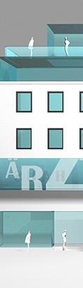 Architekturmodell für ein Ärztehaus - Kunat und Haack Architekten/Ingenieure in Berlin - Architekturbüro, Bauplanung, Baumanagement, Denkmalpfglege, Baukonzept, Bauleitung für: Wohnen, Verkehr, Industrie, Sport, Verwaltung, Gastronomie etc.